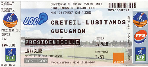 Billet de match Créteil-Gueugnon