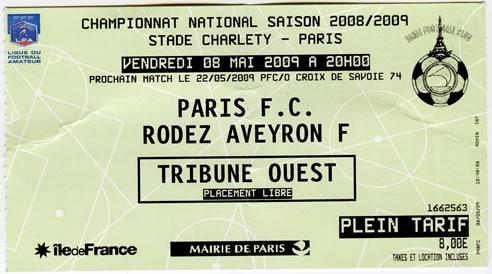 Billet de match Parus FC - Rodez Aveyron.