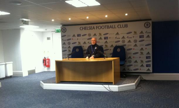 La salle de conférence de presse de Stamford Bridge, le stade de Chelsea.