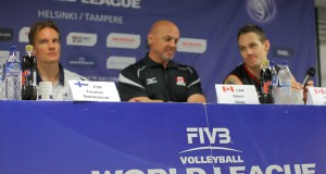 Conférence de presse en Ligue mondiale de volley.