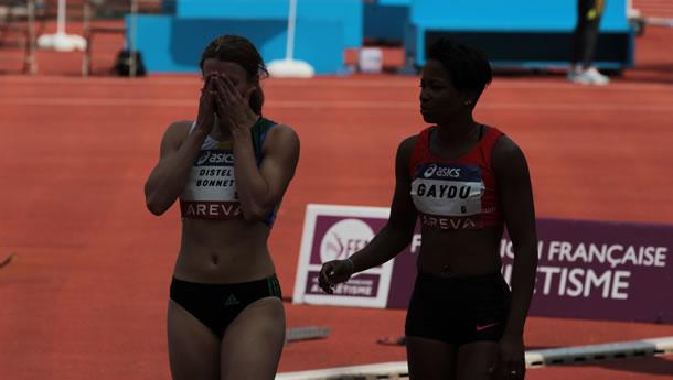 La déception de Céline Distel-Bonnet battue pour 2 centièmes en finale du 100m.