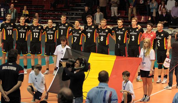 L'équipe de Belgique de volley-ball.