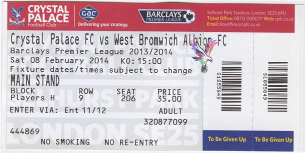 Billet de match Crystal Palace FC - West Bromwich Albion