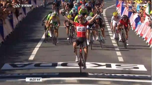 Tony Gqllopin lors de sa victoire d42tqpe sur le Tour de France 2014.