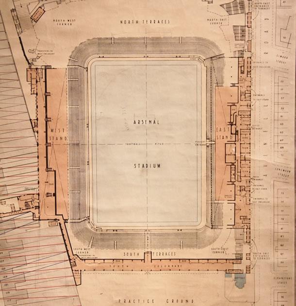 Les plans originaux du nouveau stade d'Arsenal au début du 20eme siècle.