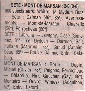 Feuille de match de FC Sète - Mont de Marsan saison 1996 / 1997.