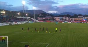 Échauffement des joueurs du Gazelec Ajaccio.