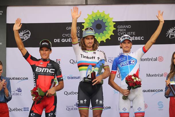 Van Avermaet (champion olympique) 2eme , Sagan (champion du monde) vainqueur, Roux,3eme un beau podium.